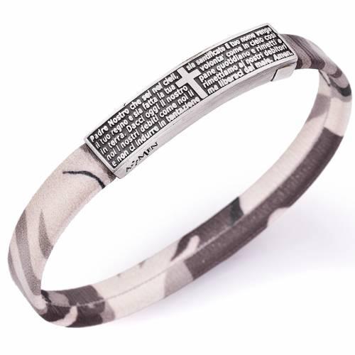 Amen bracelet, Our Father plate in Italian, beige s1