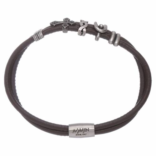 AMEN leather bracelet with a zirconate cross and various bronze charms s1