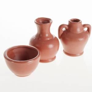 Hauszubehör für Krippe: Amphoren und Vase aus Harz 3 Stk.