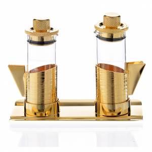 Ampolline mignon e vassoio ottone dorato 50 cc s1