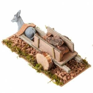 Animaux pour la crèche: Âne avec chariot chargé de bois crèche 8cm
