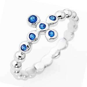 Anello AMEN Boules arg 925 Bianco zirconi blu s1