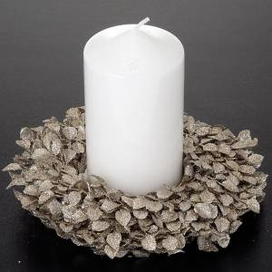 Anello candela glitter foglie decoro natalizio s2