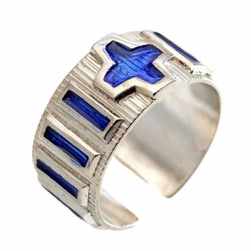 Anello decina metallo argento 800 smalto blu s1