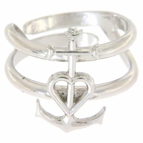 Anello regolabile in argento 925 Fede Speranza e Carità s2