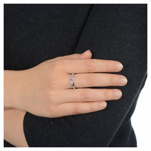 Anello rosario AMEN argento 925 zirconi bianchi Rodio s4
