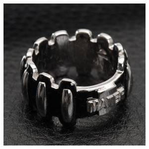 Anelli preghiera: Anello rosario MATER argento 925 smaltato nero