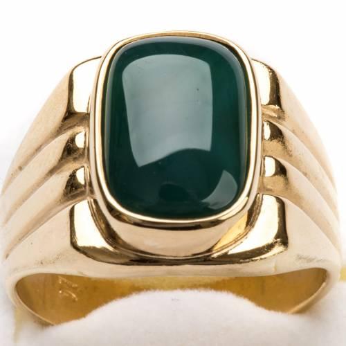 Anello vescovile argento 800 dorato agata verde s4