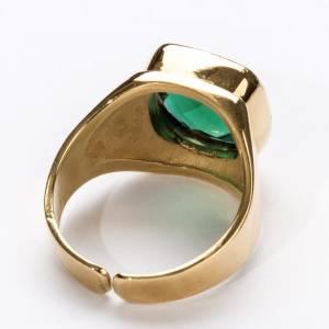 Anello vescovile argento 800 quarzo verde s4