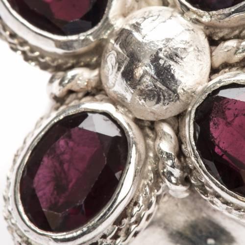 Anello vescovile argento 800 quattro pietre granato s6
