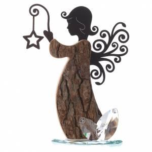 Bonbonnières: Ange en bois et métal avec base en cristal h 26 cm