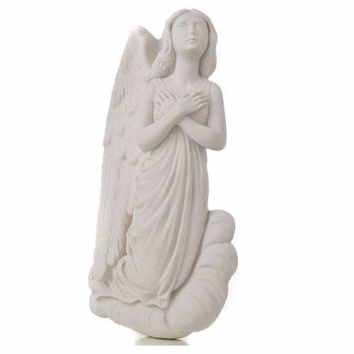 Angel on cloud, 24 cm reconstituted carrara marble bas-relief s2