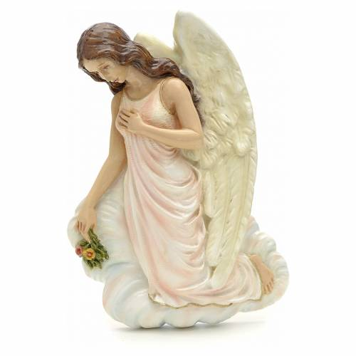 Angel with flowers, reconstituted marble bas relief, 25 cm s1