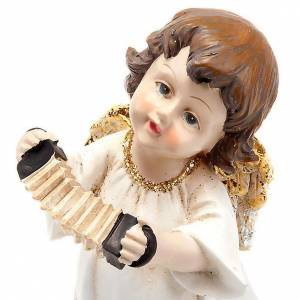 Angelito blanco y oror con acordeón adorno de navidad s1