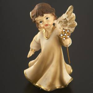 Angels in resin with flower, 4 pieces 12cm s3