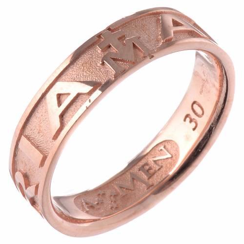 Anillo AMEN Ave Maria plata 925 acabado rosado s1