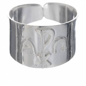 Artículos Obispales: Anillo obispal  de plata 800, símbolos XP, alfa, omega