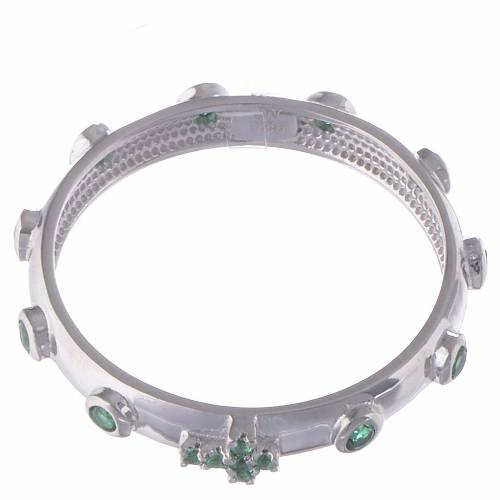 Anillo rosario AMEN plata 925 circones verdes y Rodio s2