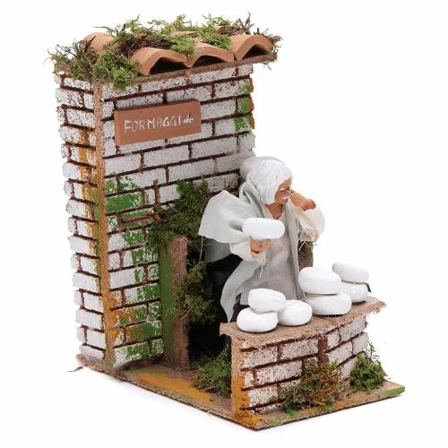 Animated nativity figurine 10cm man cheese seller s3