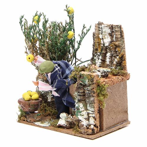 Animated nativity figurine 10cm man collecting lemons s2