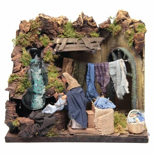 Animated Nativity scene figurine, laundress 12 cm s1