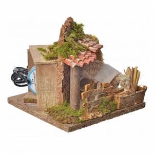 Animated nativity scene figurine, sheep and straw stack 15-25cm s6