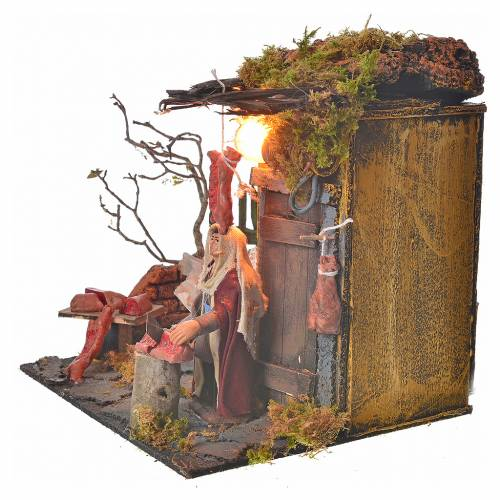 Animated Neapolitan nativity figurine, butcher 10cm s3