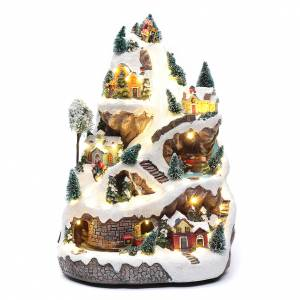 Christmas villages sets: Animated village with mountain 45x30x25 cm