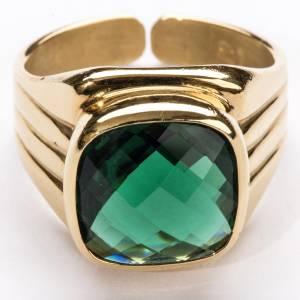 Anneau épiscopal argent 800 quartz vert s3