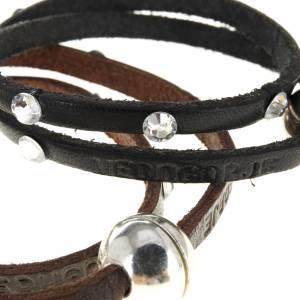Sonstige Armbände: Armband mit Swarovski aus Leder, 34cm