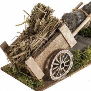 Animali presepe: Asino carro di fieno per presepe 8-10 cm