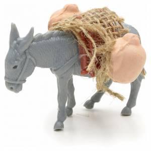 Animales para el pesebre: Asno con carga para el pastor de 10cm