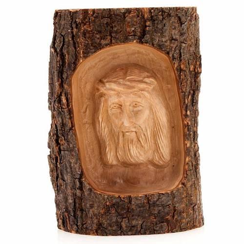Bajorrelieve madera rostro de Cristo ojos abiertos s1