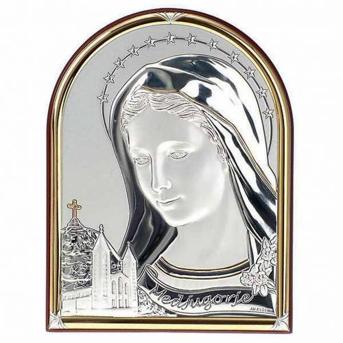 Bajorrelieve oro/plata Virgen de Medjugorje base oval s1