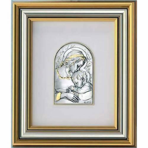 Bajorrelieve Virgen y Jesús niño, plata y oro s1