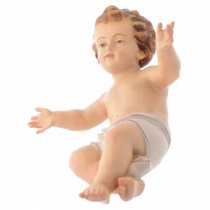 Bambinello Gesù braccia aperte in legno drappo bianco s2