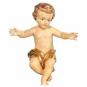 Bambinello Gesù braccia aperte in legno drappo dorato s1