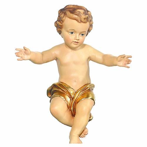 Bambinello Gesù braccia aperte in legno drappo dorato 1