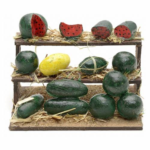 Banc aux melons en miniature crèche Napolitaine 4,5x9x7 s1