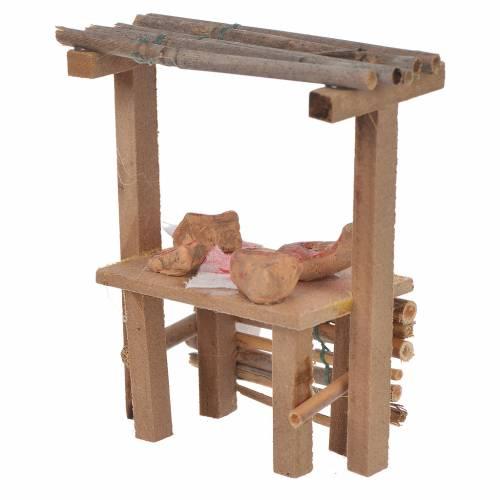 Banc bois charcuterie cire crèche 9x10x4,5 cm s2