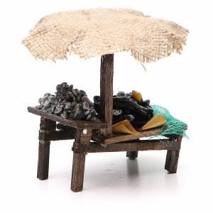 Banc de marché crèche moules palourdes avec parasol 12x10x12 cm s3