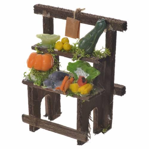 Banchetto fruttivendolo cera presepe 8,5x7x4 cm s2