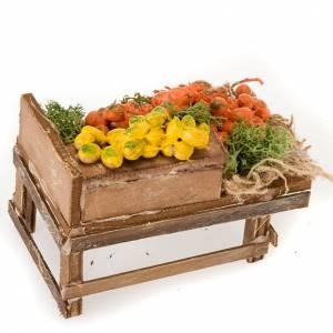 Presepe Napoletano: Banchetto legno agrumi terracotta presepe
