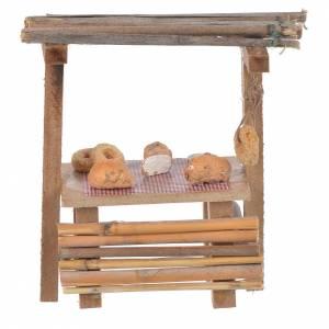 Cibo in miniatura presepe: Banco legno pane cera presepe 9x10x4,5 cm