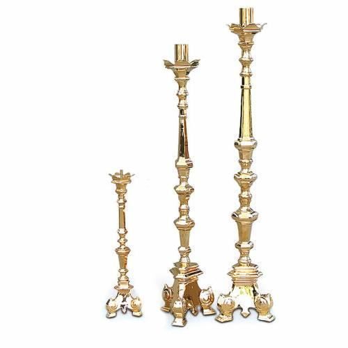 Baroque candlestick, golden brass s1