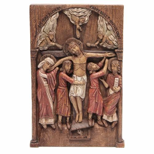 Bas relief de Crucifixion de Silos 37x24 cm bois Bethléem s1