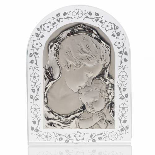 Bas-relief in silver, flowers, Mary and baby Jesus s1