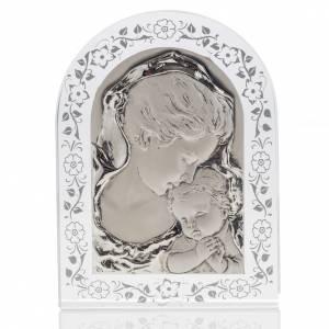 Bas-relief Vierge avec l'enfant Jésus et fleurs argent s1