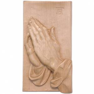 Bas-relief with joined hands patinated Valgardena wood s1