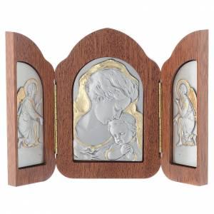Silber Basreliefs: Basrelief Trilogie Madonna und Kind mit Engeln, Silber und Gold